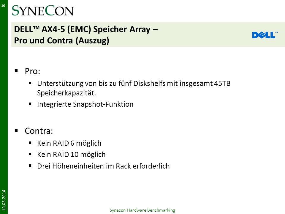 DELL™ AX4-5 (EMC) Speicher Array – Pro und Contra (Auszug)