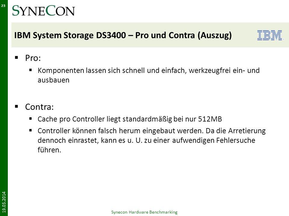 IBM System Storage DS3400 – Pro und Contra (Auszug)