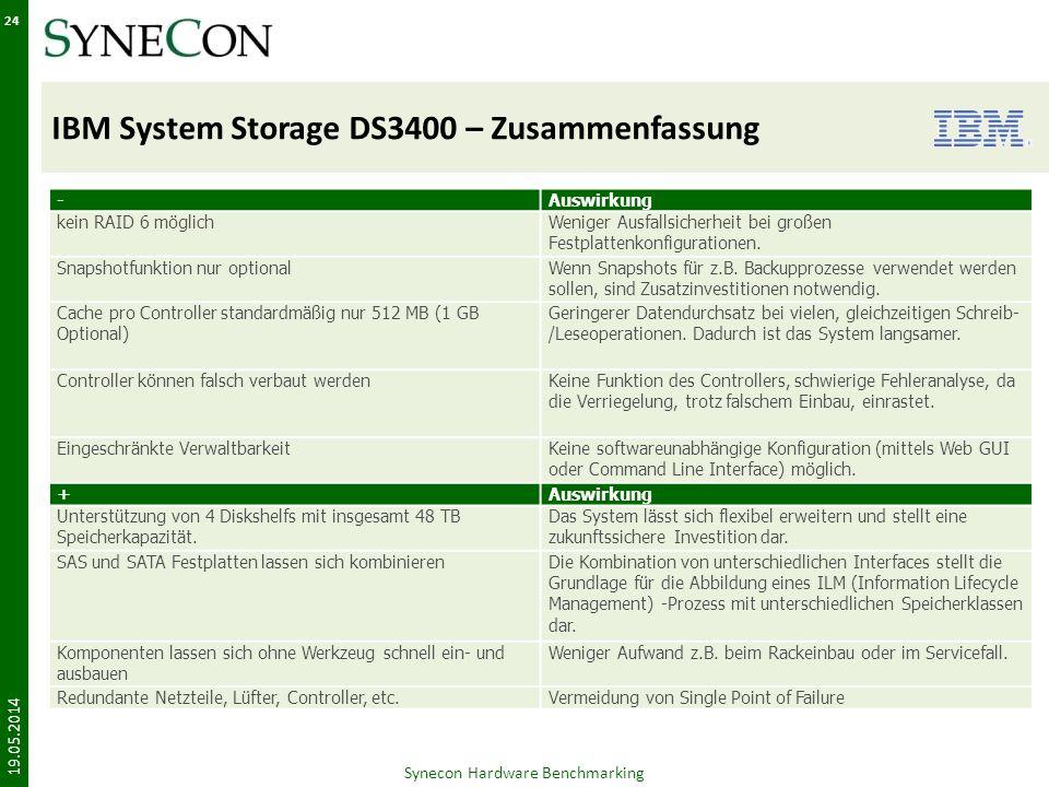 IBM System Storage DS3400 – Zusammenfassung