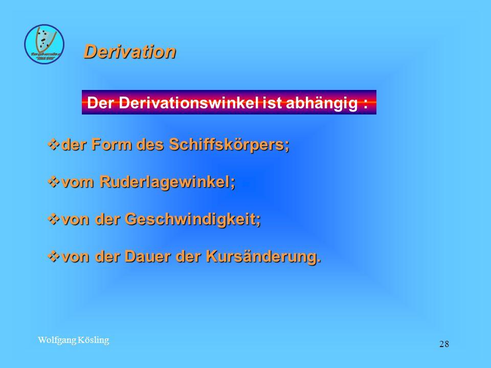 Derivation Der Derivationswinkel ist abhängig :