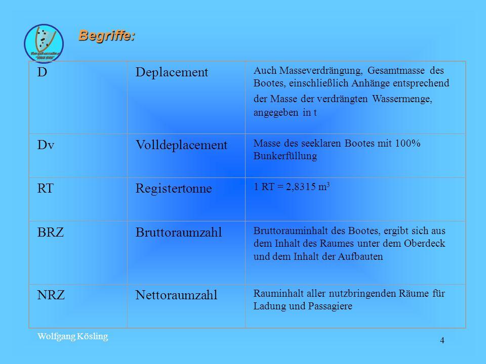 Begriffe: D Deplacement Dv Volldeplacement RT Registertonne BRZ