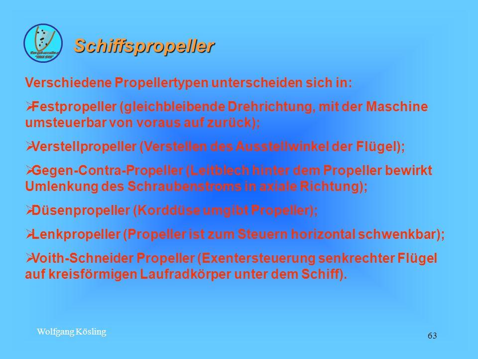 Schiffspropeller Verschiedene Propellertypen unterscheiden sich in: