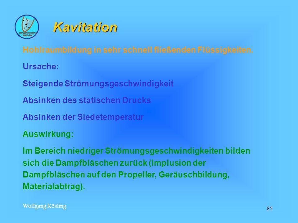 Kavitation Hohlraumbildung in sehr schnell fließenden Flüssigkeiten.