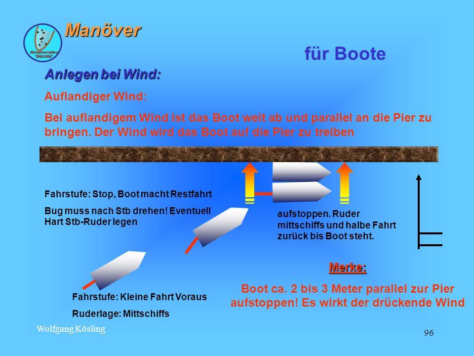 Manöver für Boote Anlegen bei Wind: Auflandiger Wind: