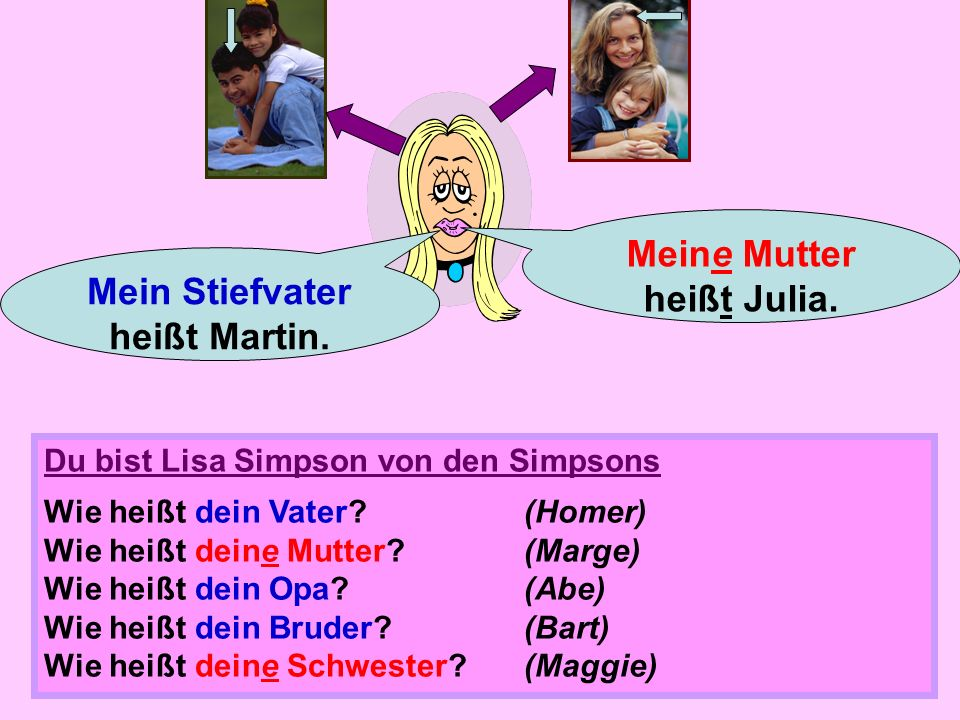 Meine Mutter heißt Julia. Mein Stiefvater heißt Martin.