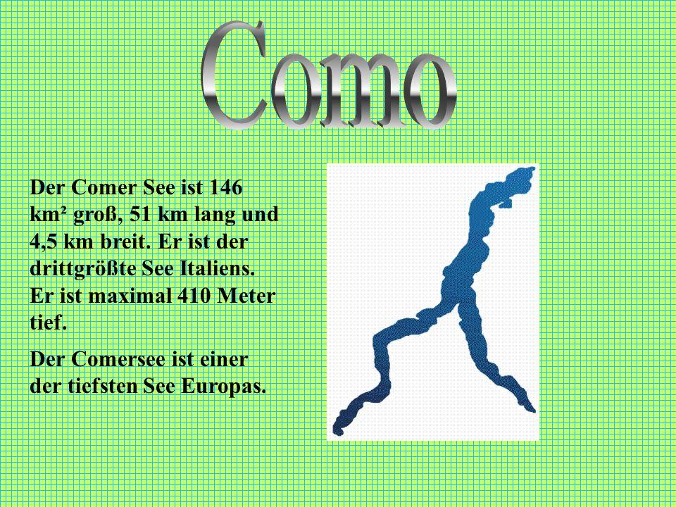 Como Der Comer See ist 146 km² groß, 51 km lang und 4,5 km breit. Er ist der drittgrößte See Italiens. Er ist maximal 410 Meter tief.