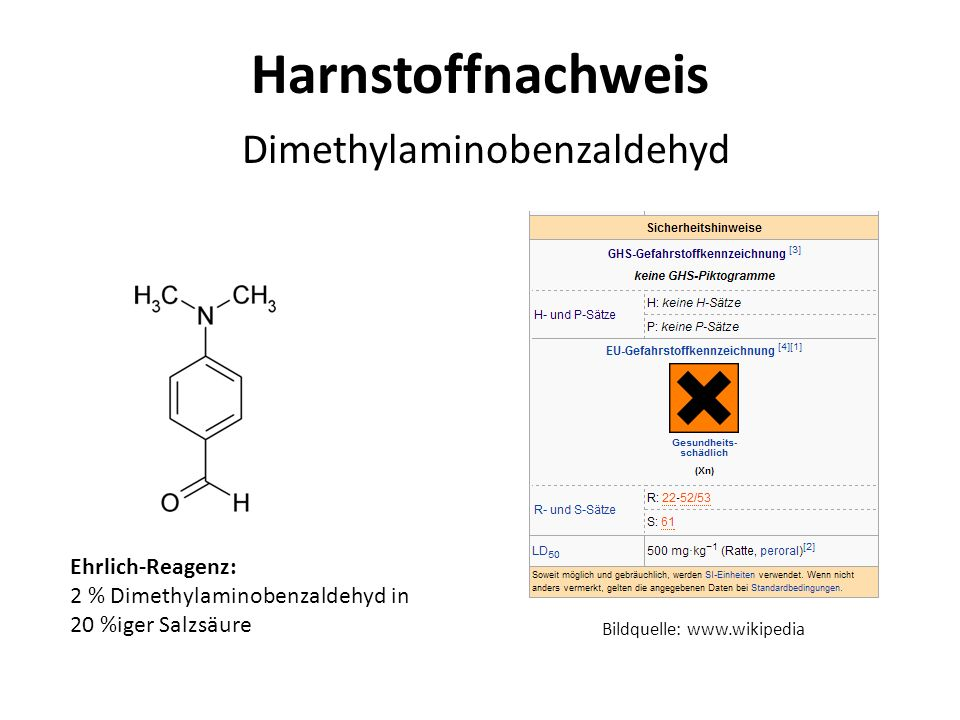 Harnstoffnachweis Dimethylaminobenzaldehyd