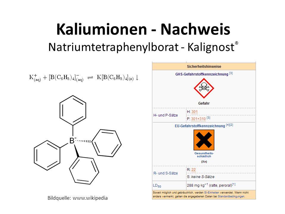 Kaliumionen - Nachweis Natriumtetraphenylborat - Kalignost®
