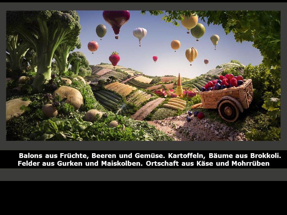 Balons aus Früchte, Beeren und Gemüse. Kartoffeln, Bäume aus Brokkoli