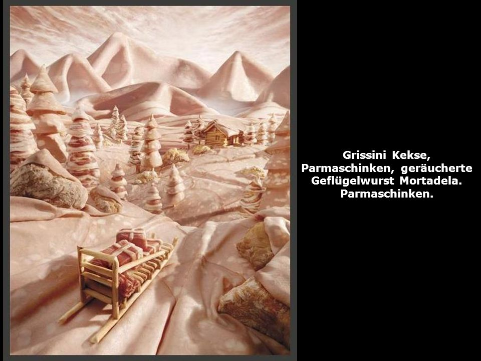 Grissini Kekse, Parmaschinken, geräucherte Geflügelwurst Mortadela.