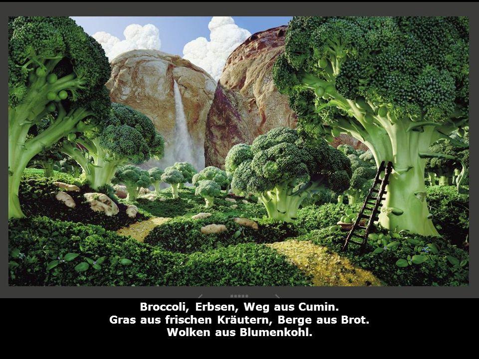 Broccoli, Erbsen, Weg aus Cumin.
