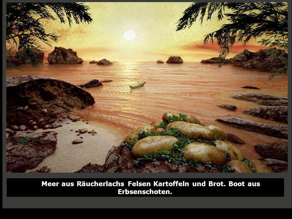Meer aus Räucherlachs Felsen Kartoffeln und Brot