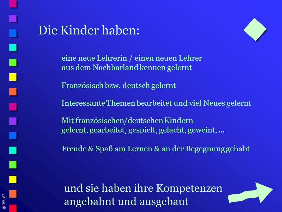 Die Kinder haben: eine neue Lehrerin / einen neuen Lehrer. aus dem Nachbarland kennen gelernt. Französisch bzw. deutsch gelernt.