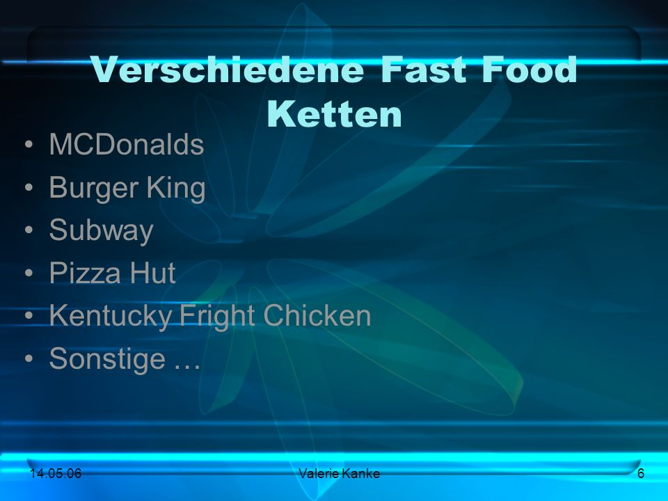 Verschiedene Fast Food Ketten