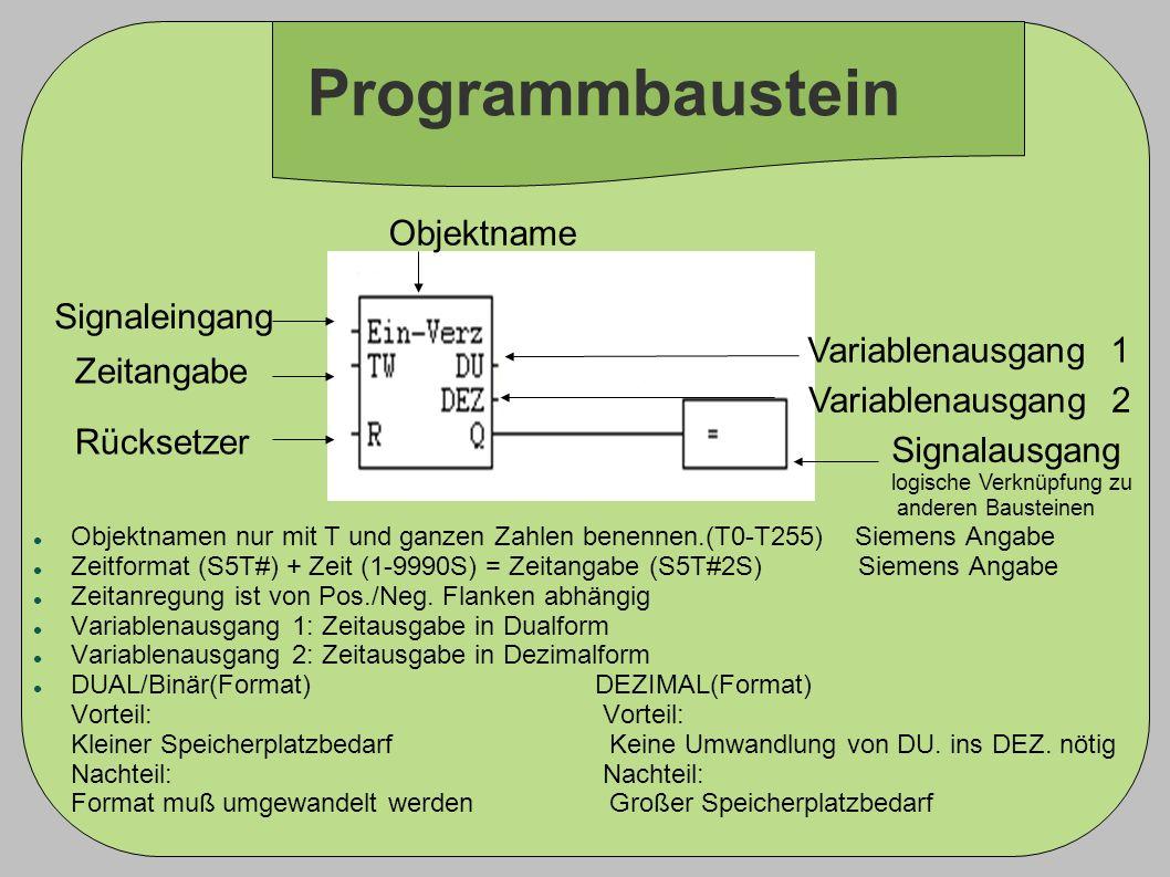 Programmbaustein Objektname Signaleingang Variablenausgang 1