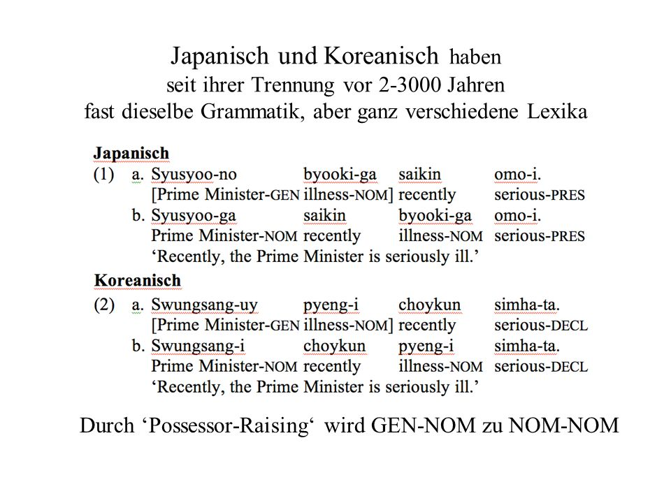 Japanisch und Koreanisch haben seit ihrer Trennung vor 2-3000 Jahren fast dieselbe Grammatik, aber ganz verschiedene Lexika