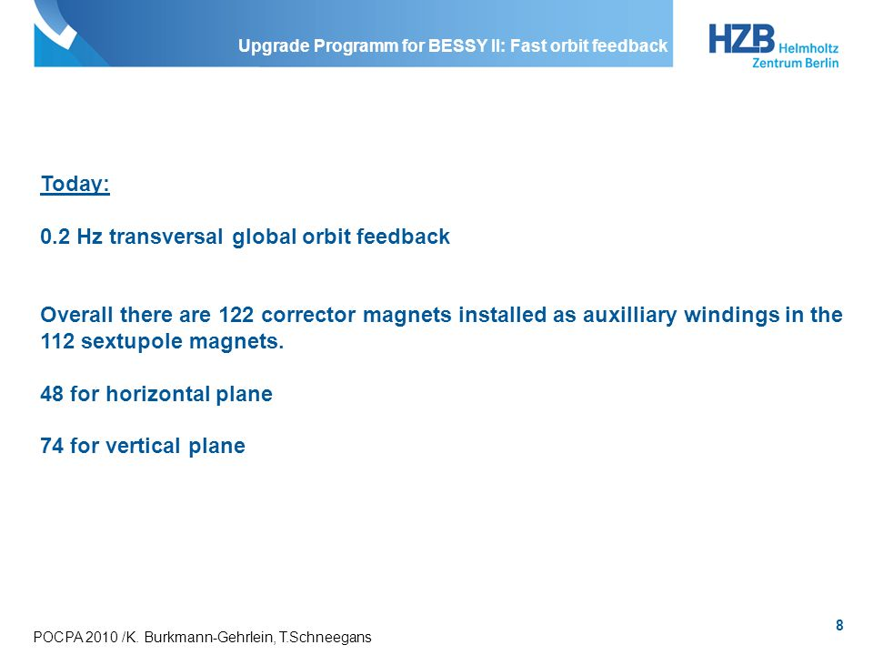 Upgrade Programm for BESSY II: Fast orbit feedback