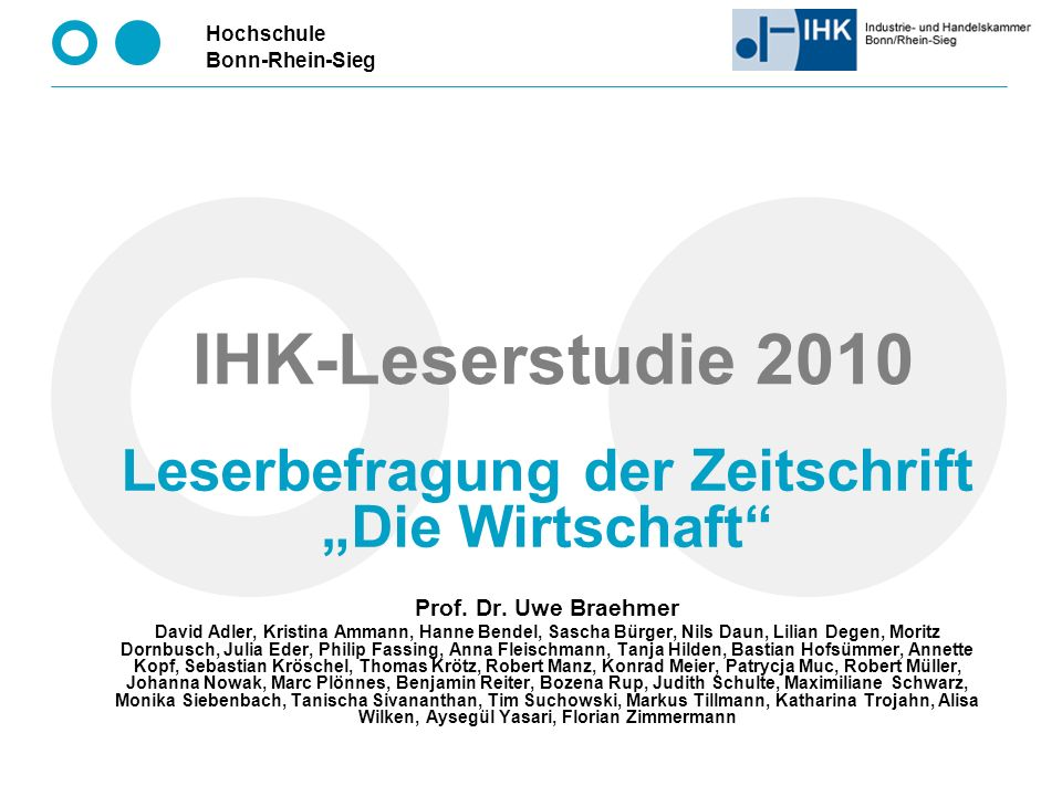 """Leserbefragung der Zeitschrift """"Die Wirtschaft"""