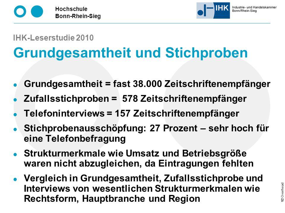 IHK-Leserstudie 2010 Grundgesamtheit und Stichproben