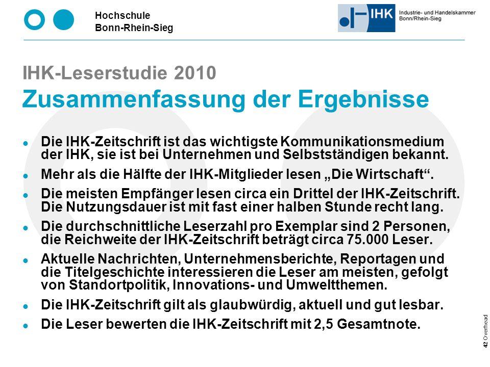 IHK-Leserstudie 2010 Zusammenfassung der Ergebnisse