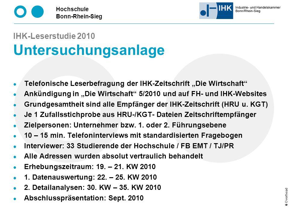 IHK-Leserstudie 2010 Untersuchungsanlage