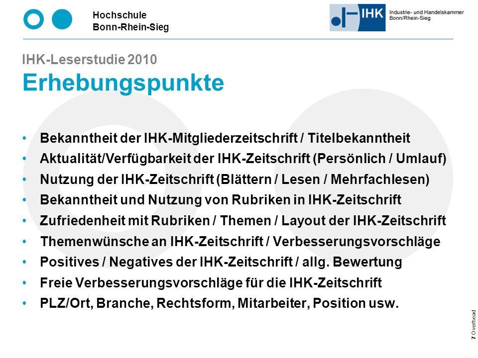 IHK-Leserstudie 2010 Erhebungspunkte