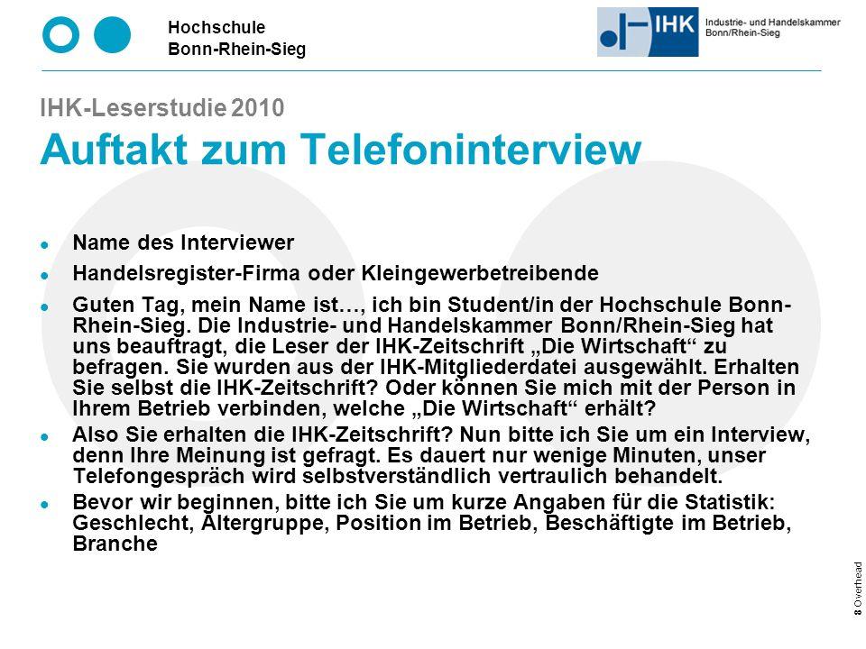 IHK-Leserstudie 2010 Auftakt zum Telefoninterview