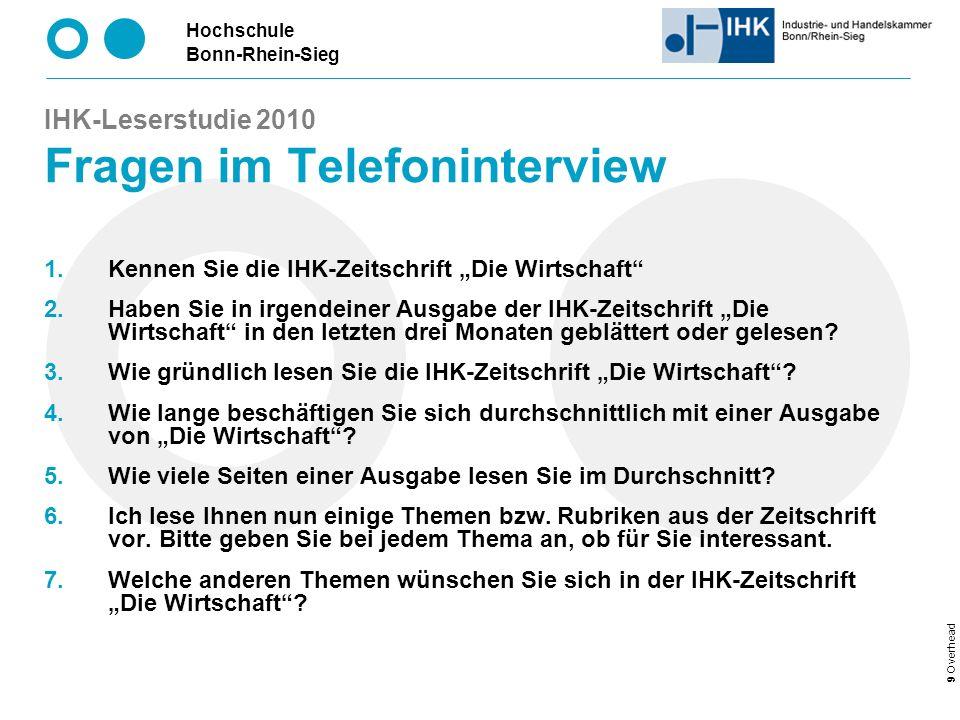 IHK-Leserstudie 2010 Fragen im Telefoninterview