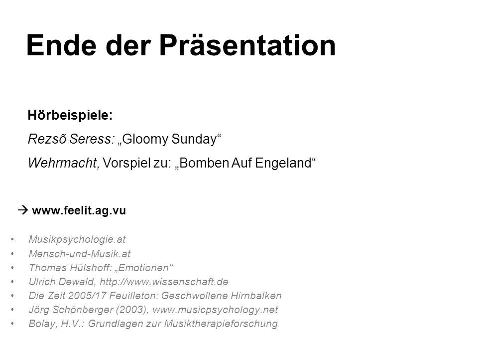 "Ende der Präsentation Hörbeispiele: Rezsõ Seress: ""Gloomy Sunday"