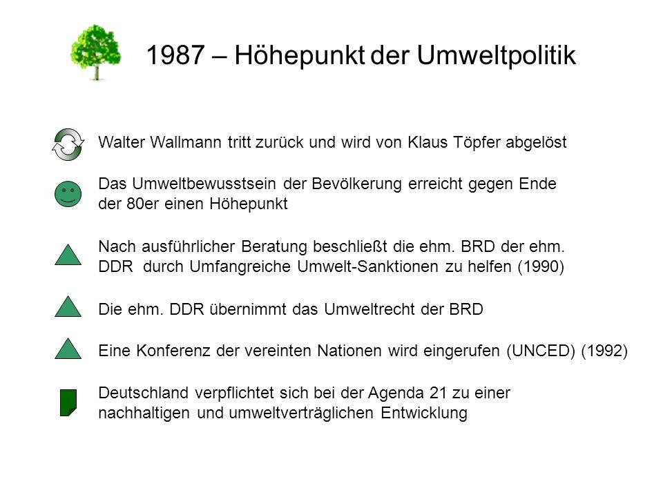 1987 – Höhepunkt der Umweltpolitik