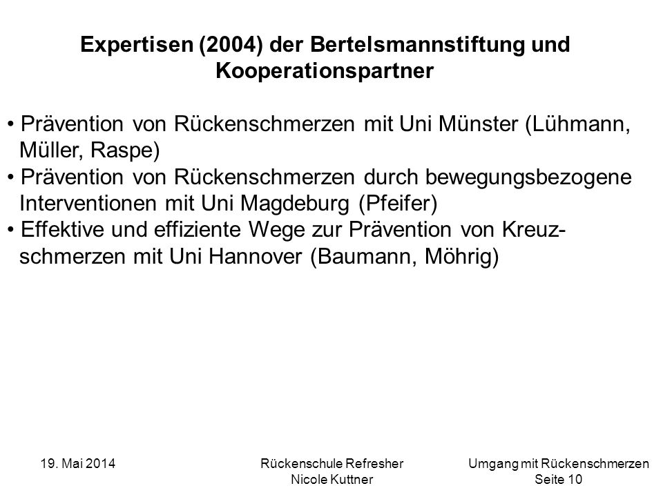 Expertisen (2004) der Bertelsmannstiftung und Kooperationspartner