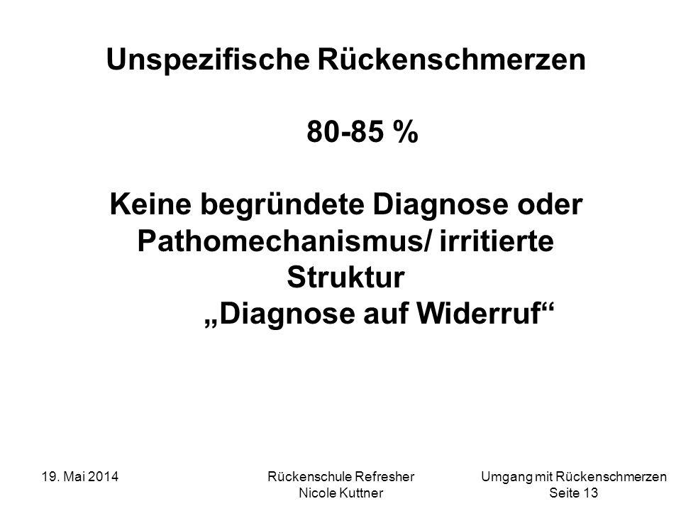Unspezifische Rückenschmerzen 80-85 %