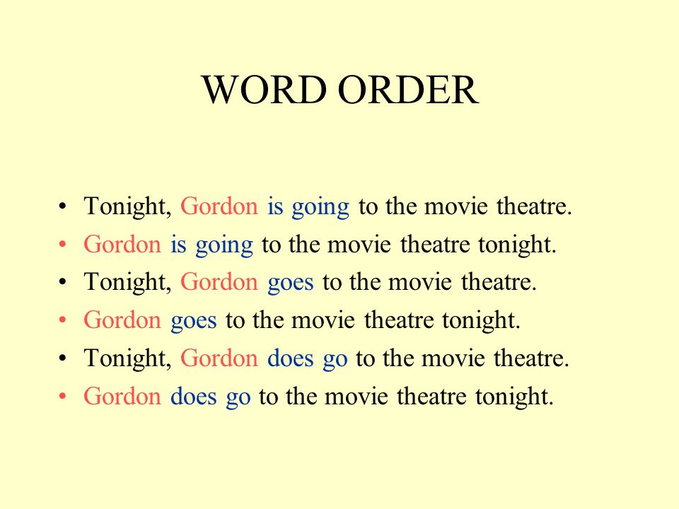 WORD ORDER Tonight, Gordon is going to the movie theatre.