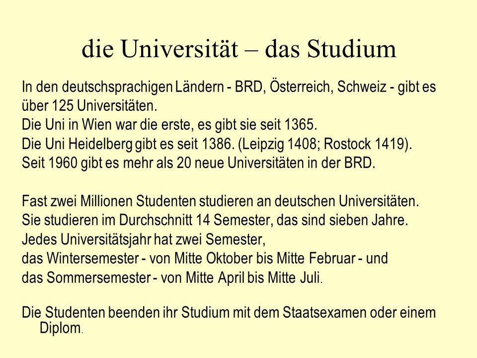 die Universität – das Studium