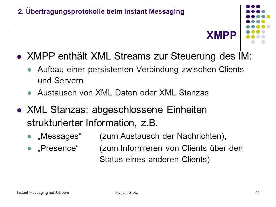 XMPP XMPP enthält XML Streams zur Steuerung des IM:
