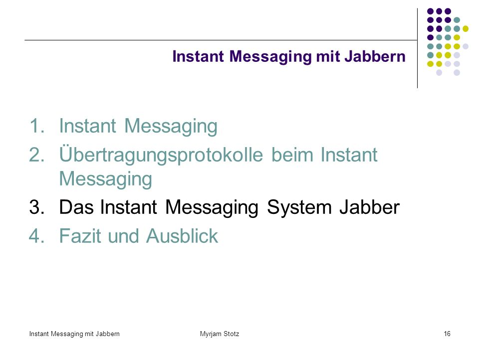 Instant Messaging mit Jabbern