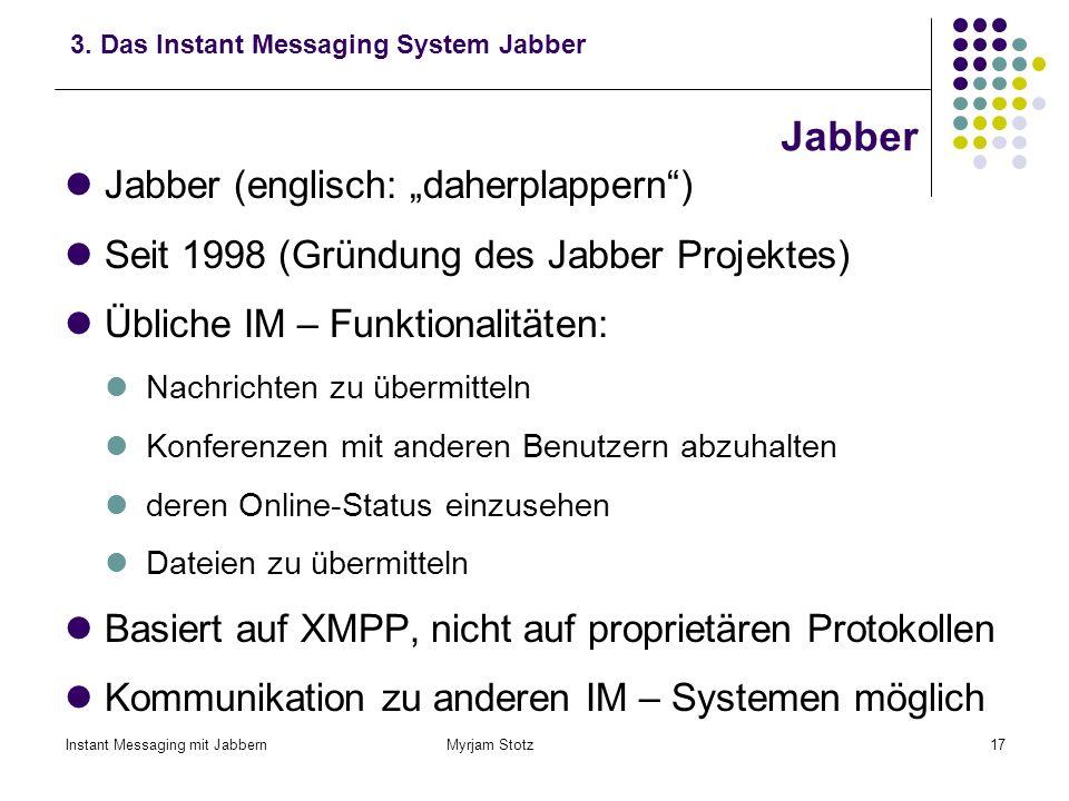 """Jabber Jabber (englisch: """"daherplappern )"""
