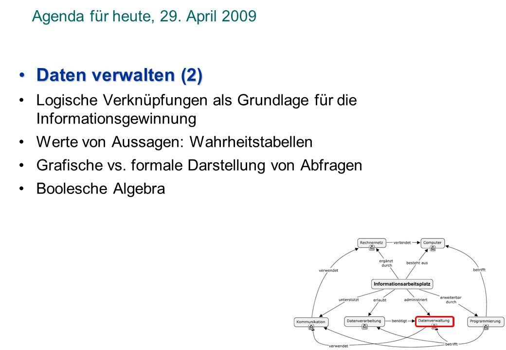 Daten verwalten (2) Agenda für heute, 29. April 2009