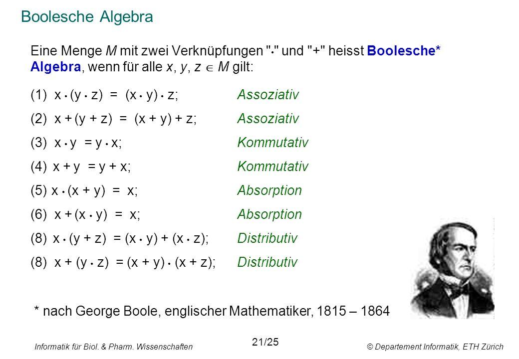 Boolesche Algebra Eine Menge M mit zwei Verknüpfungen • und + heisst Boolesche* Algebra, wenn für alle x, y, z  M gilt: