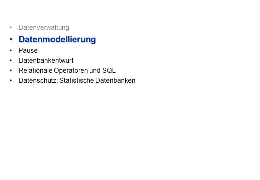 Datenmodellierung Datenverwaltung Pause Datenbankentwurf