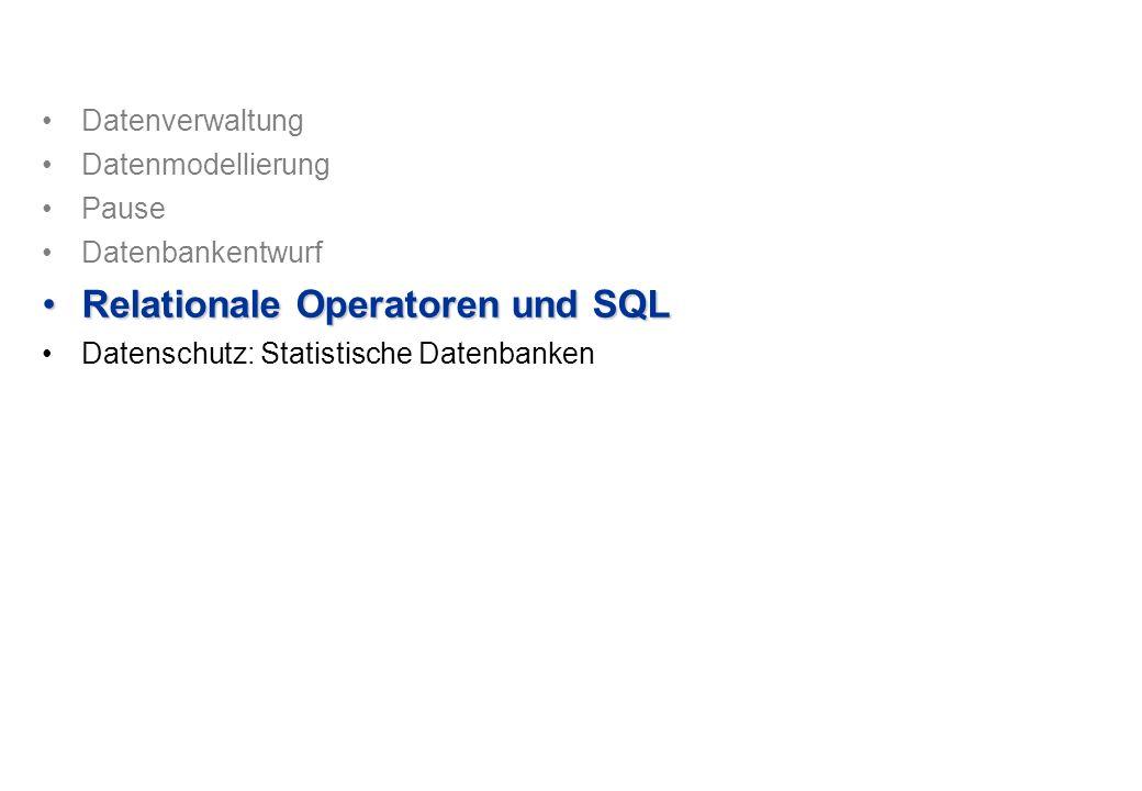 Relationale Operatoren und SQL