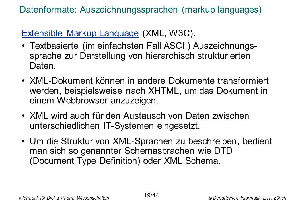 Datenformate: Auszeichnungssprachen (markup languages)