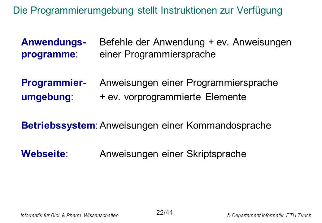 Die Programmierumgebung stellt Instruktionen zur Verfügung