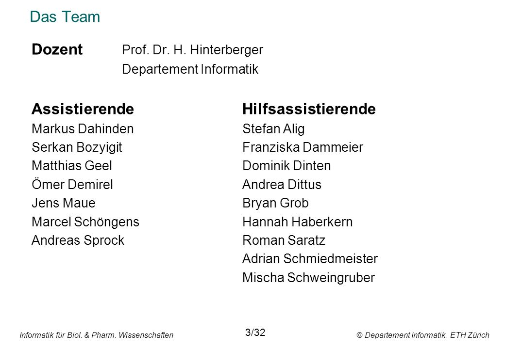 Dozent Prof. Dr. H. Hinterberger