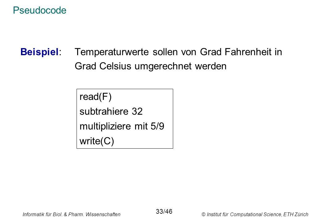 Beispiel: Temperaturwerte sollen von Grad Fahrenheit in