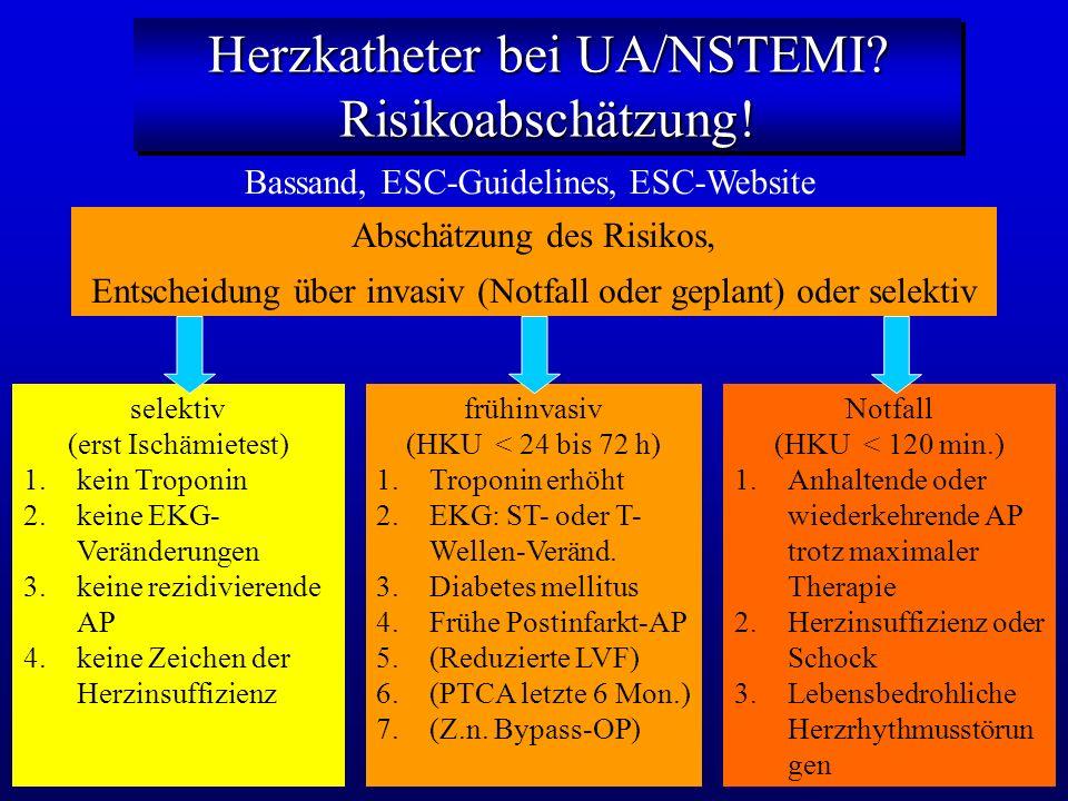 Herzkatheter bei UA/NSTEMI Risikoabschätzung!