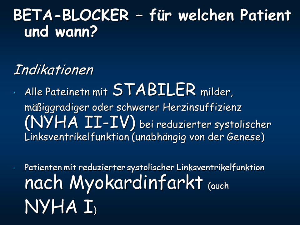 NYHA I) BETA-BLOCKER – für welchen Patient und wann Indikationen