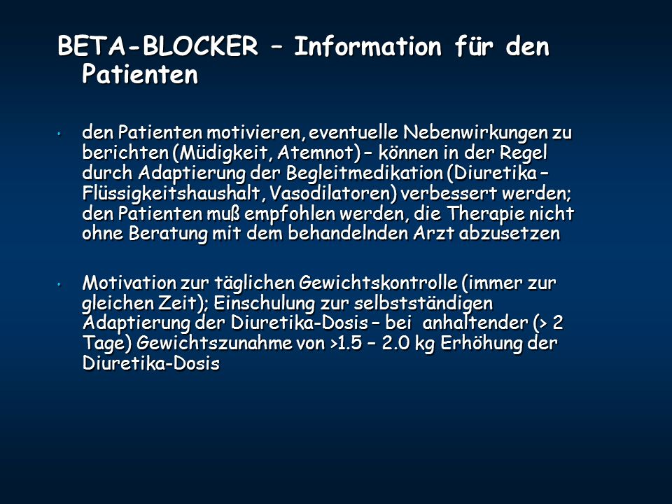 BETA-BLOCKER – Information für den Patienten