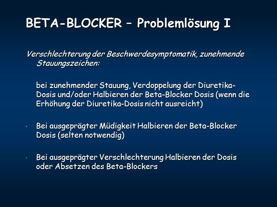 BETA-BLOCKER – Problemlösung I