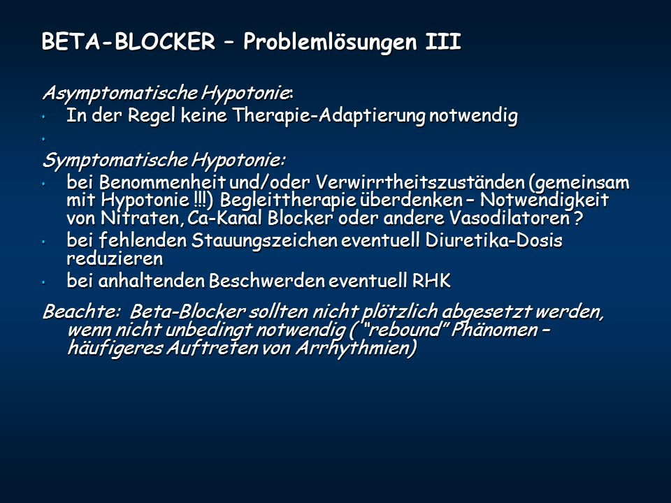 BETA-BLOCKER – Problemlösungen III